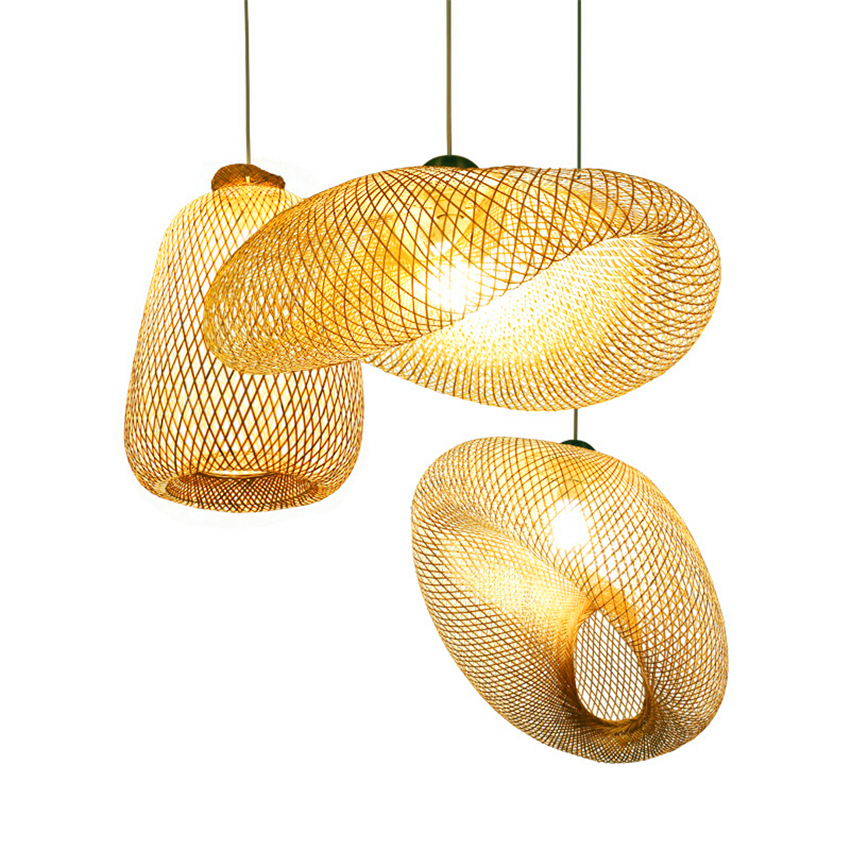 Modern LED Bamboo Straw Hat Shaped Pendant Lights Lighting Country Style Living Room Lamps Indoor Decor Bedroom Light Fixtures