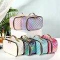 Новая Модная Портативная косметичка из искусственной кожи, косметичка, Повседневная квадратная сетчатая женская сумка для хранения