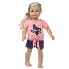 Одежда для кукол новорожденных джинсовые шорты и рубашка розового
