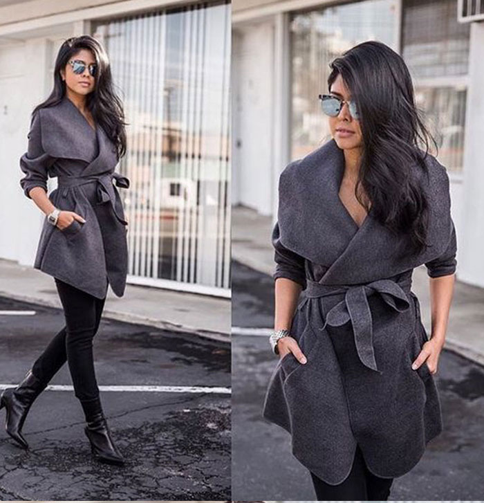 Winter Coats Women Autumn Woolen Blend Fashion Lapel Jackets Sexy V Neck Belt Lace-up Solid Casual Slim Overcoats Female Outer 4