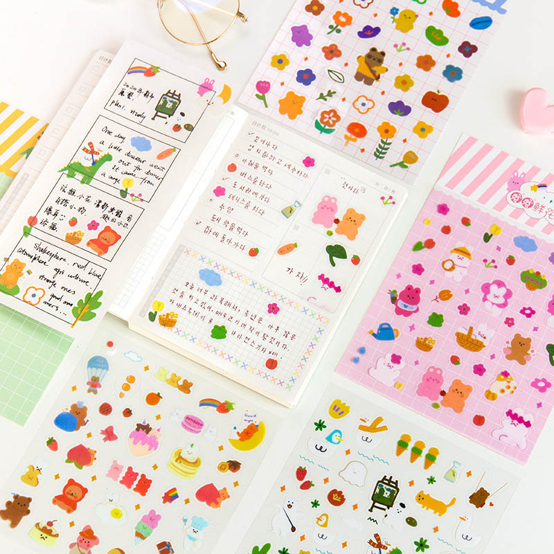1Sheet Kawaii Animal Stationery Stickers Cute Decorative Stickers PVC Adhesive Sticker For Kids DIY Scrapbooking Diary Supplies