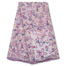 Lace-Fabrics Sequins Tulle Nigerian French African High-Quality PGC YA3894B-7 Sewing