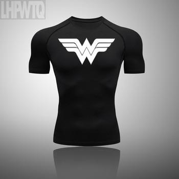 Wonder Woman Men's full Suit Compression Sport Suit Gym joggers Running Short sleeve Shirts leggings Basketball sportwear 23