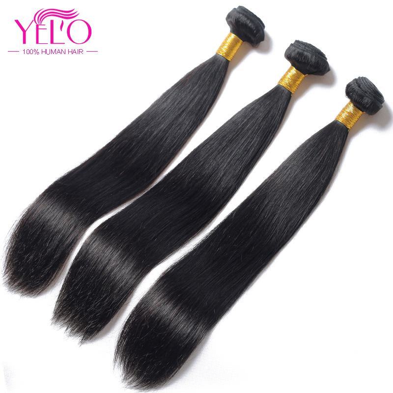 YELO High Ratio Brazilian Remy Straight 3Pcs/lot 100% Human Hair Extensions 8 30inch Natural Color Free Shipping - 5