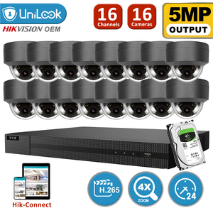 UniLook H.265 + 16CH 4K HD POE NVR комплект ip-камера безопасности система наружного аудио с 10 купольной камерой s 2,8 ~ 12 мм Zoom HIK Connect