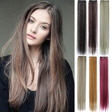 Наращивание длинных волос GIRLSHOW с 2 зажимами, 24 дюйма, два типа прямых и волнистых цветов, синтетические пряди для женщин