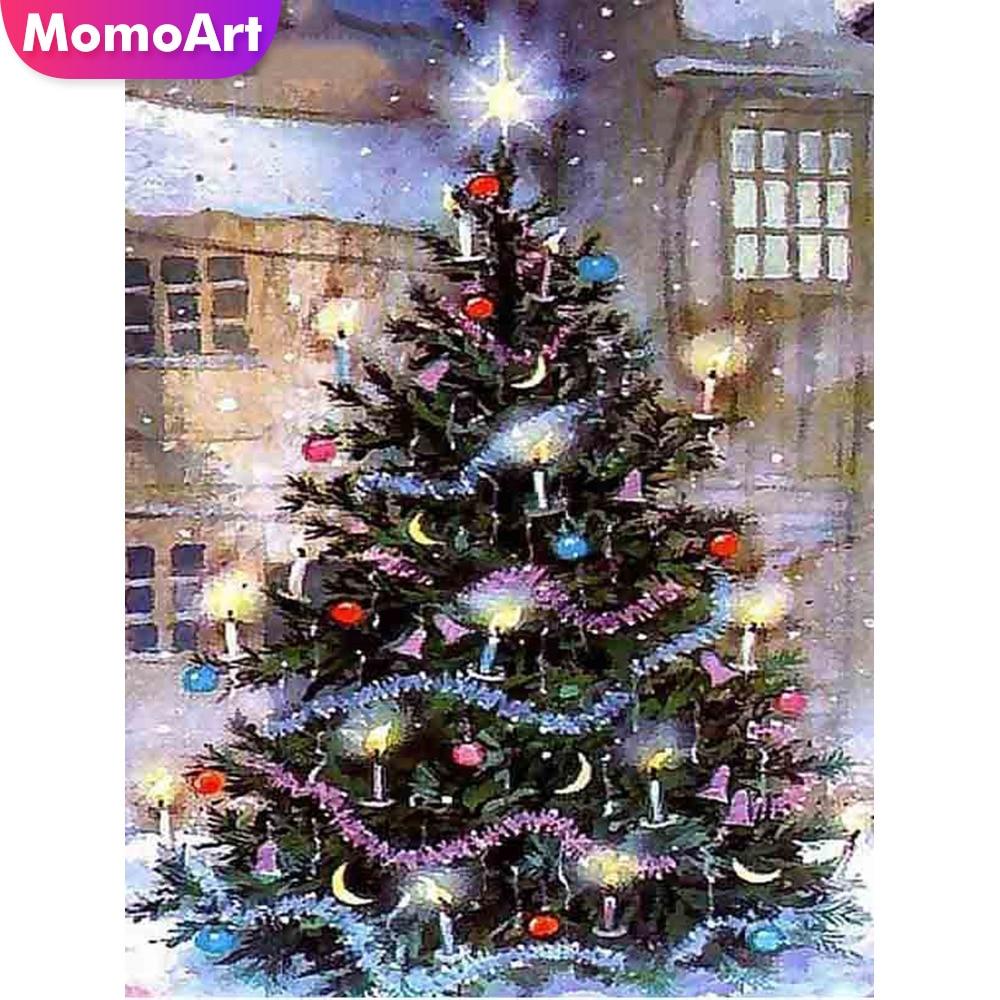 MomoArt DIY Diamond Painting Christmas Tree Embroidery Cartoon Mosaic Full Complete Kit Home Decor