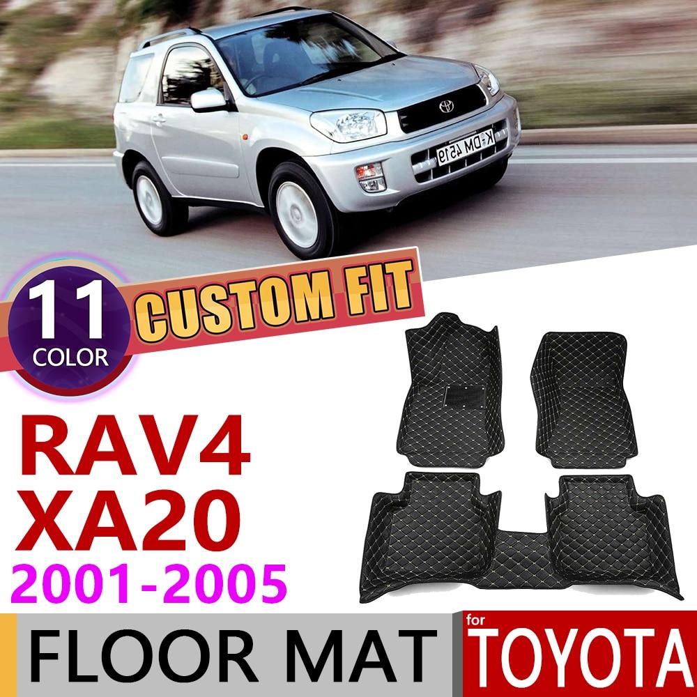 Custom Leather Car Floor Mats For Toyota RAV4 RAV 4 XA20 2001~2005 XA 20 4Seats Auto Foot Pad Carpet Accessories 2002 2003 2004