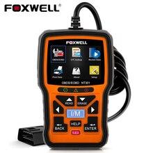 Foxwell NT301プラスOBD2スキャナ12vバッテリーテスターチェック電池プリントエンジン読むeobd obdii自動車車診断
