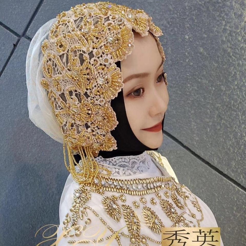Wedding Party Shawl Wrap Islamic Muslim Lace Hijab Caps