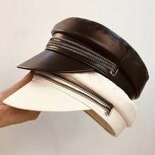 2019 New White Black PU Leather Women Fashion Newsboy Cap Bakerboy Cabbie Pageboy Visor Cap Ladies Beret Hat Adjustable 56-59cm цена 2017
