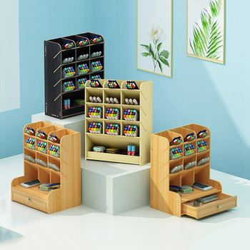 Pencil Organizer Multi-Function Wooden Desktop Pen Holder Office School Stationery Storage Stand Case Desk Pen 1