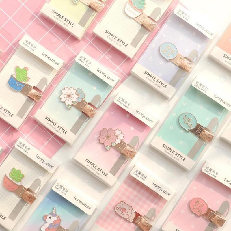 1 Pcs Kawaii Unicorn Pig Cactus Cherry Single Hole Metal Pen Holdes With Pocket Clip Doctors Nurse Uniform Stationery Gifts