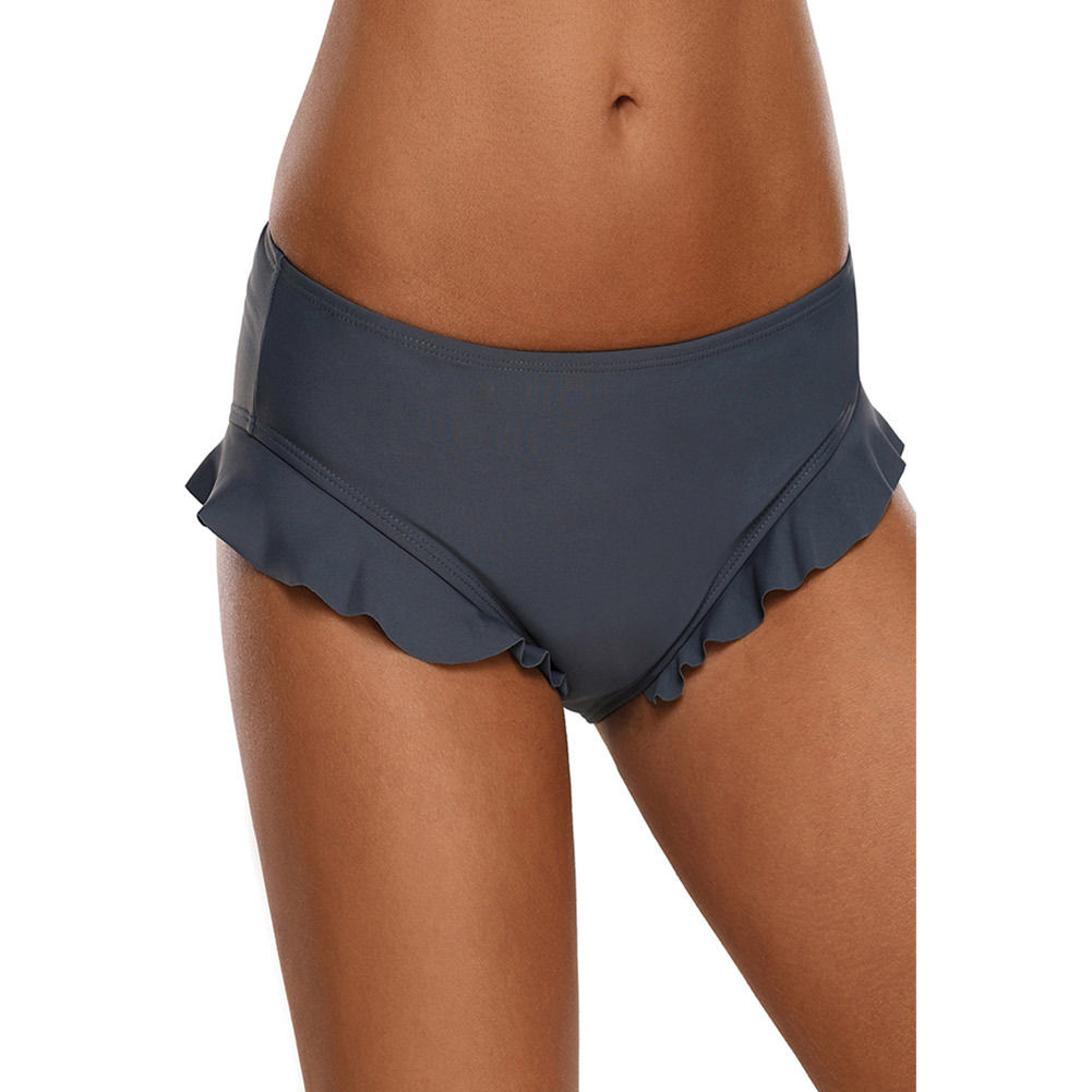 Flounced Sports Swimming Briefs Pleated High-waisted Adult Sexy Swimming Trunks Beach Shorts