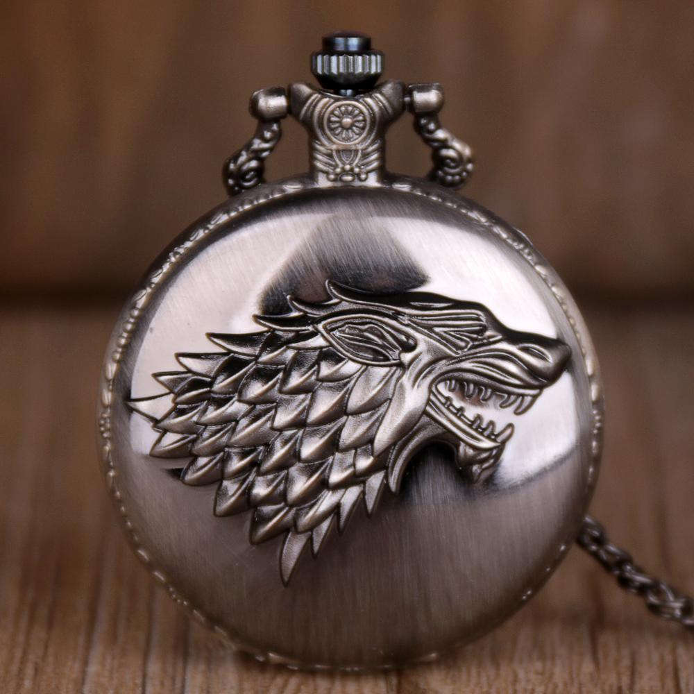 Classic Smooth Quartz Pocket Wolf Pattern Watch Jewelry Alloy Chain Pendant Necklace Chain Man Women's Gift Pocket Watches