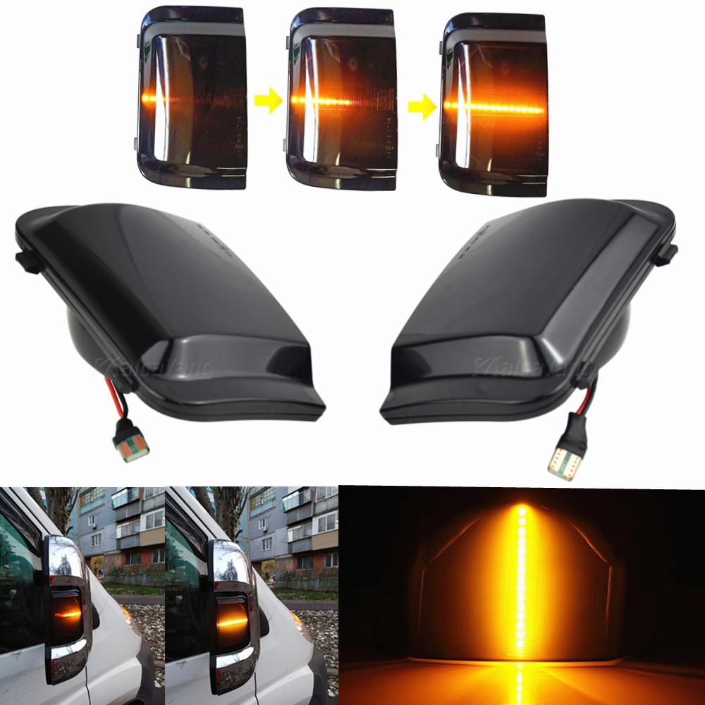 Lado do carro espelho retrovisor dinâmico blinker indicador sequencial led transformar a luz do sinal para peugeot boxer fiat ducato citroen jumper