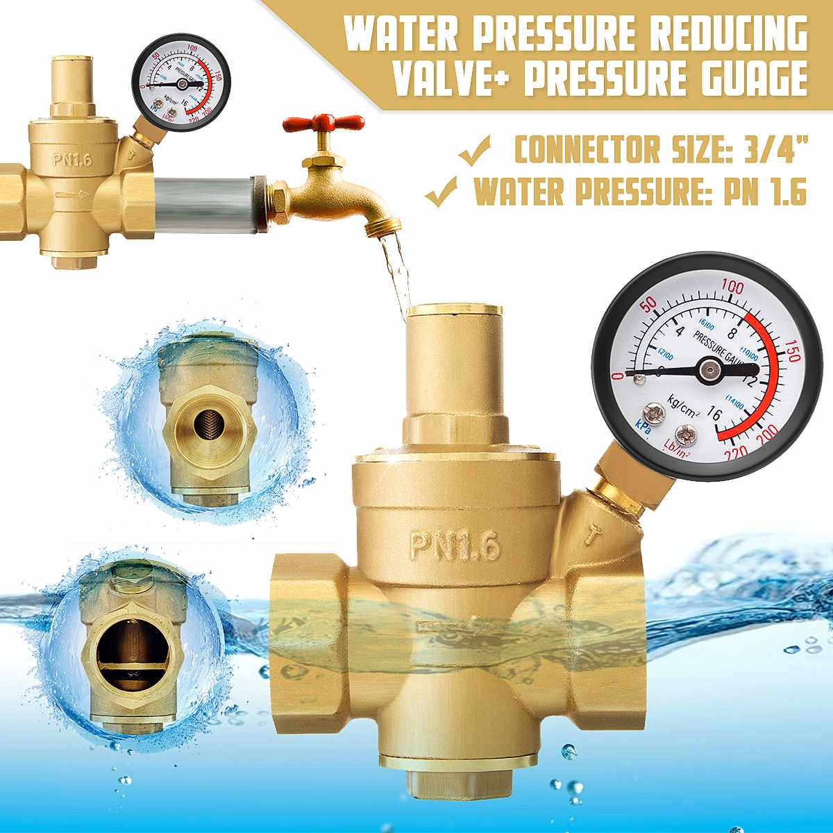 DN20 3/4 Inch Brass Water Pressure Regulator Reducer Adjustable Relief Valve Pressure Gauge Regulator Reducer Gauge Meter