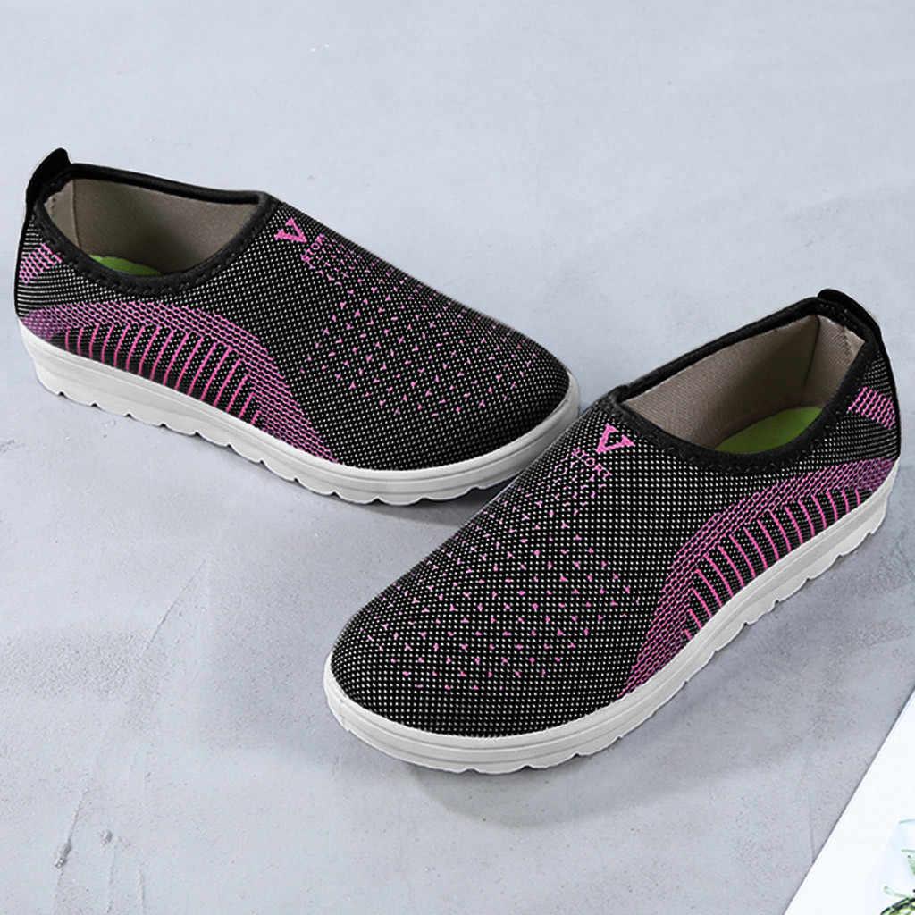 Femmes maille chaussures plates Patchwork sans lacet coton chaussures décontractées pour femme marche rayure baskets mocassins chaussures souples
