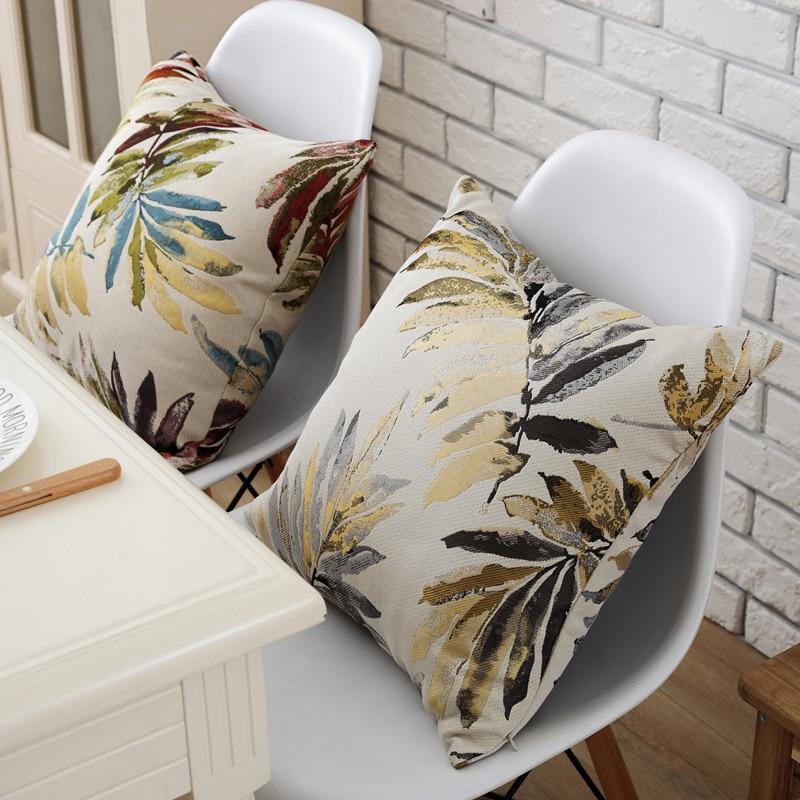 Luxurious Red Plants Leaf Home Decor Pillow Cover Jacquard Cushion Cover Sofa Throw Decoration Pillowcase 1pcs 45x45cm Велюр