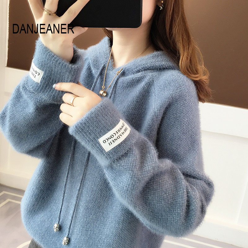 DANJEANER Korean Style Women Sweaters And Pullovers Spring Long Sleeve Streetwear Knitted Hooded Tops Solid Casual Sweaters