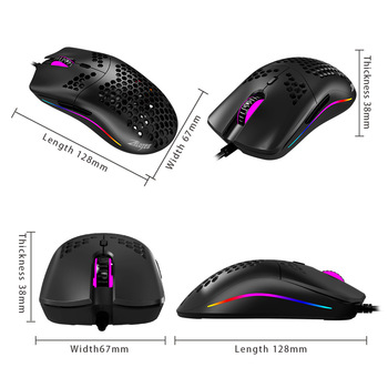 Newest 16000 DPI PMW3389 Gaming Mouse RGB Marquee Belt 7 Button Laser Mice 1.8m USB Wired Gamer Mouse For Laptop Computer PC 2