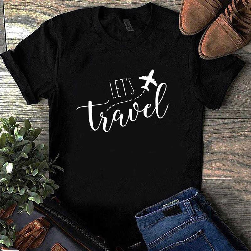 Grafici Magliette Donne T Shirt 2020 Lascia Andare Da Viaggio Divertente T Camicette Estate del Bicchierino-manicotto Maglietta Ulzzang Femminile Magliette E Camicette di modo Più Il Formato
