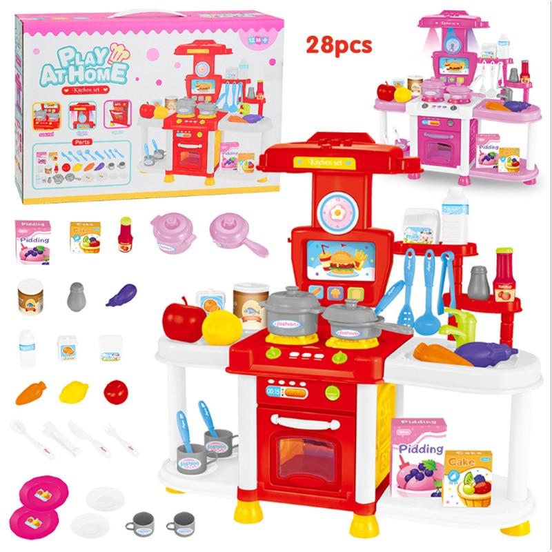 Big Size (L:40*W:15*H:40cm) Kitchen Set Plastic Pretend Play Toy Light Kids Kitchen Cooking Supermarket Play Food Cart Toy D224