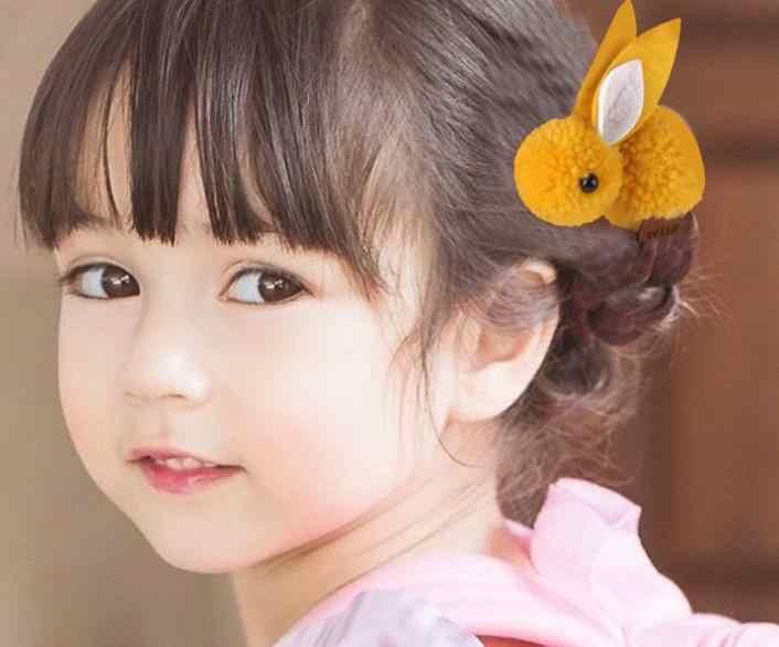 Menina de coelho de pelúcia bonito corda cabelo anel de cabelo sentiu tridimensional pequeno grampo de cabelo bola de cabelo de coelho orelhas de coelho cabelo anel