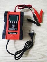 Foxsur 12v 24v 6a carregador de bateria de carro reparação de pulso 7 estágios carregador para carro chumbo ácido bateria de lítio carregador de motocicleta