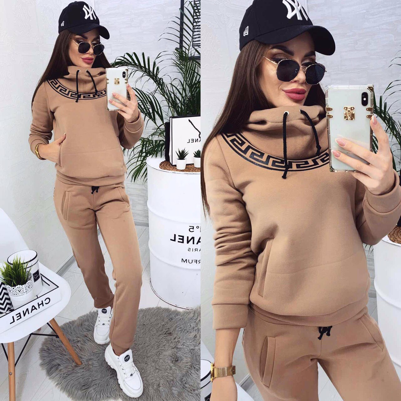 Velvet Tracksuits Women Two Piece Outfits Causal Suit Women Fashion Sports Leisure Hooded Sweatshirt Pants Set Suit Two Piece