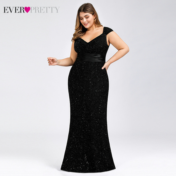Plus Size Black Lace Evening Dresses Ever Pretty EP07919 V-Neck Sleeveless Elegant Sparkle Mermaid Party Gowns Vestido De Festa plus size prom dresses 2020 ever pretty ep08838 elegant mermaid lace sleeveless v neck long party gowns sexy wedding guest gowns