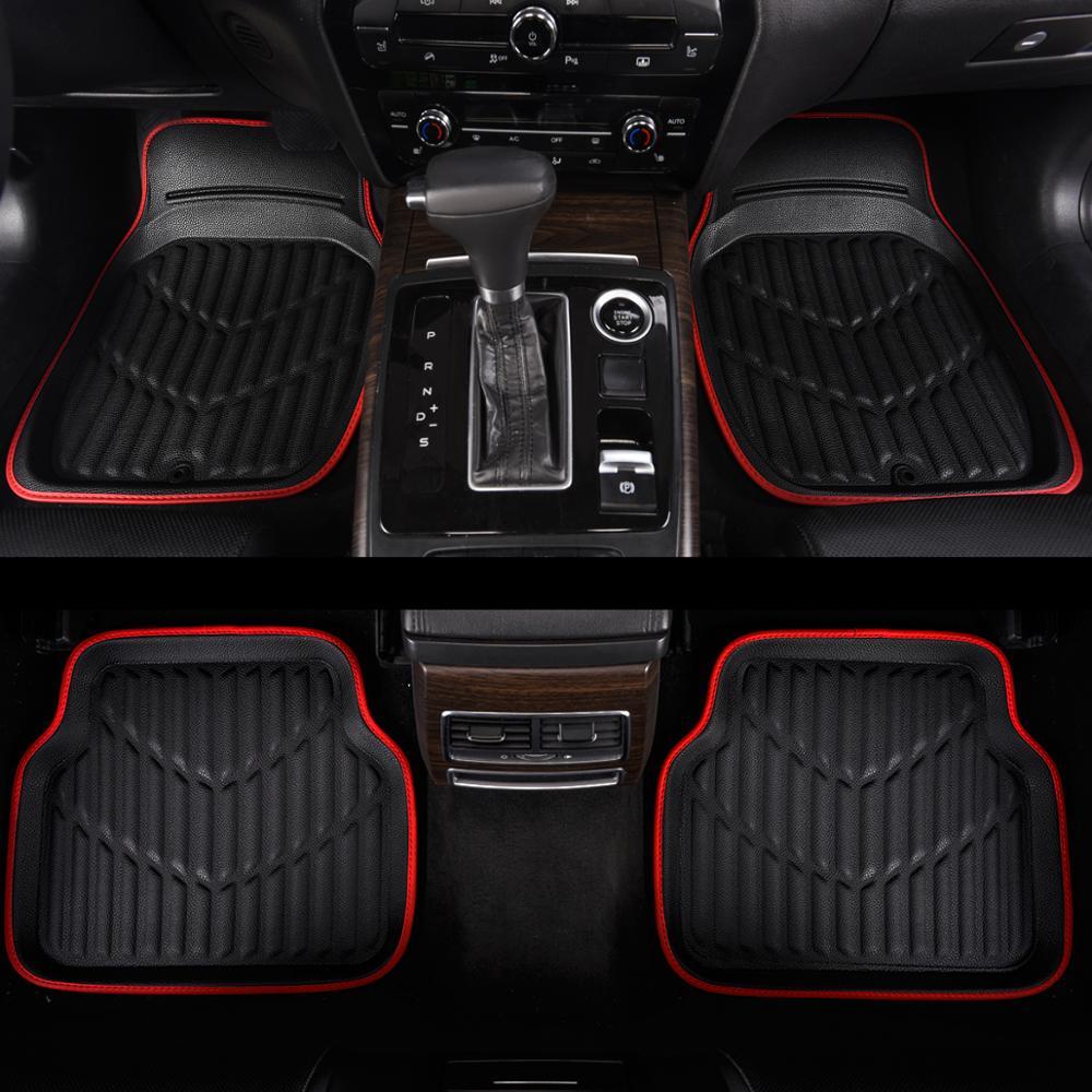Универсальные автомобильные коврики из ПВХ кожи водонепроницаемые анти грязные черные красные коврики для Toyota Lada Honda Bmw Audi Nissan|Напольные коврики|   | АлиЭкспресс
