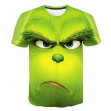 Camiseta con estampado 3D de película green grinch para hombre y mujer, Camiseta con estampado de animales, camiseta a la moda