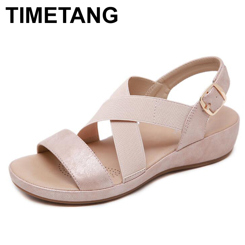 TIMETANGSummer new flat sandals Shoes for women gladiator type open toe wedge sandals Women Casual beach shoes with platformE059