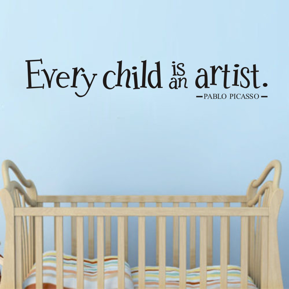 DIY Home Decor Every Child is an Artist Wall Sticker Bedroom Baby Kids Playroom Removable Wallpaper