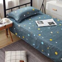 Juego de cama estampado Yaapeet, 1 unidad, Sábana plana + 2 piezas, funda de almohada, impresión sencilla para cama individual/doble, Sábana Doble