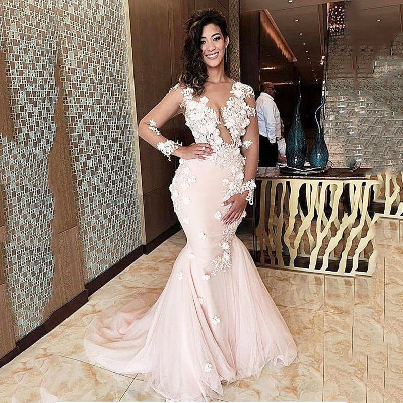 See-through Pink Mermaid Evening Dresses With Beadings 3D Floral Gown Long Sleeves Evening Gowns Prom Dresses Vestido De Noche