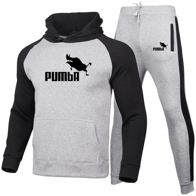 Men Women Hoodies set Fashion Casual Print pumba Long Sleeve Splice  Sweatshirt Autumn Winter Warm Thick Hip-hop Style Hoody set 2