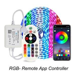 Rgb светодиодные ленты 5050 IP67 водонепроницаемые AC220V rgb огни 60 светодиодов/м 5050SMD с беспроводным Bluetooth контроллером plug led освещение