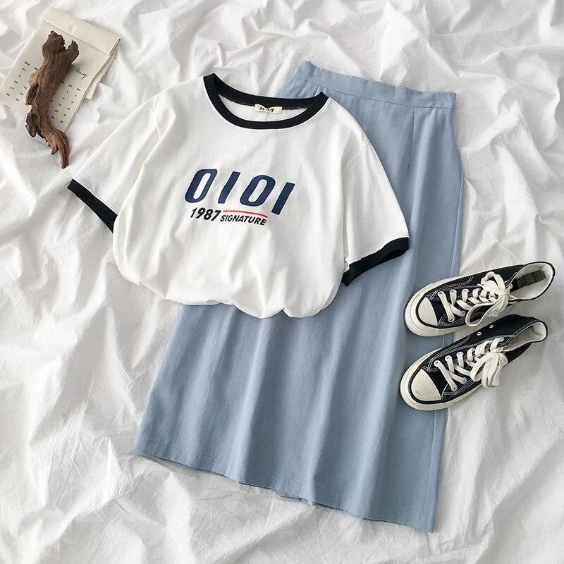 Summer Elegant Skirt Set Women Two Pieces Set White Letters Print T-shirt + High Waist Blue Maxi Skirt Matching Set