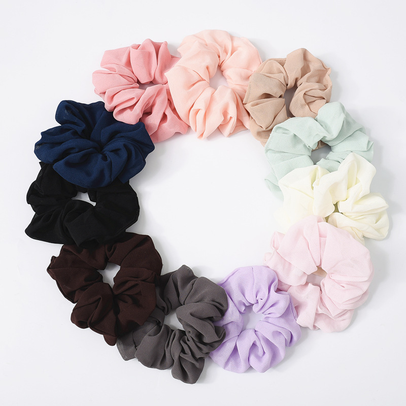 Fashion Chiffon Hair Scrunchies Bobble Solid Color Sports Elastic Dance Headband Rope Women Hair Band Ring Scrunchie Ponytail