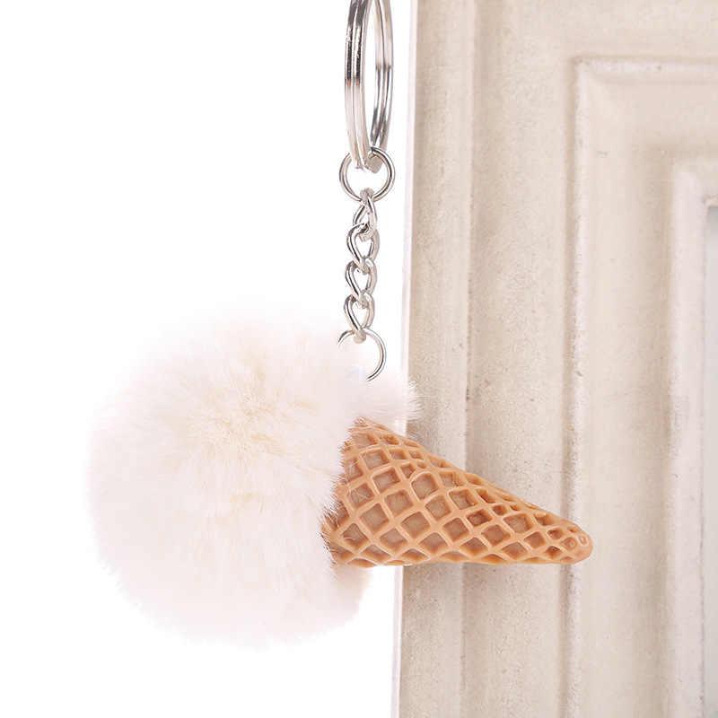 New Bonito Sorvete Chaveiro 12*10 centímetros Pom Pom da Pele Do Falso Saco Carro Pingente de Chaveiro para As Mulheres chaveiro Jóias Caçoa o Presente