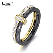 Lokaer 2 Layers Black/White Ceramic Crystal Wedding Rings Jewelry Stainless Steel Rhinestone Engagement Ring For Women R18054
