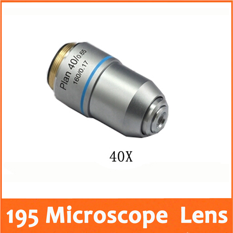 40X L=195 Plan Achromatic Biological Microscope Objective Lens Laboratory Biomicroscopy Accessories 20.2mm for Medical Science|Microscopes| |  - title=