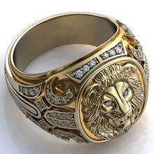 Anel de leão de cristal do vintage para homens do punk gótico hip hop motocicleta biker rock dedo anel dominador masculino grande anel jóias