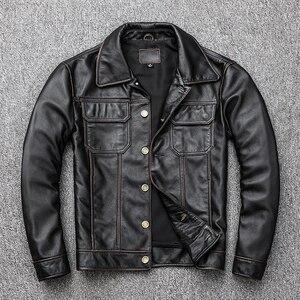 Image 4 - Spedizione gratuita. regalo giovane classic casual genuino cappotto di pelle. vintage degli uomini di giacca di pelle bovina. us più il cuoio di formato outwear. vendite