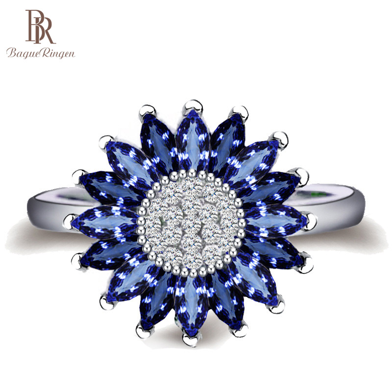Bague Ringen Female Trendy Silver 925 Jewelry Sapphire Rings For Women Sunflower Blue Gemstones Flower Plant Dating Party Ring