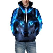 Mens Hip hop Hooded Sweatshirt 3D Wolf Print Long Sleeve Hoodies Sports Men Drawstring Hooded Sreetwear Top Halloween Pullover(China)