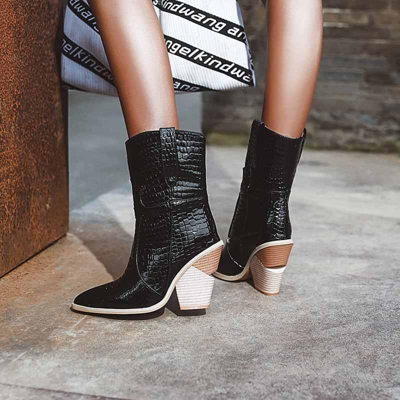 Büyük boy 34-43 yeni 2020 yarım çizmeler kadınlar için tırnak yüksek topuklu sivri burun moda çizmeler kadın yüksek kalite temel kadın botları