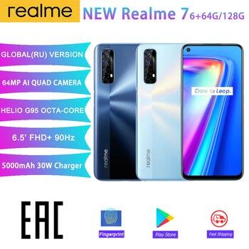 realme 7 6GB 64GB Mobile Phone 6.5'' 90Hz Display Helio G95 Octa Core 64MP Quad Camera 5000mAh 30W Dart Charge Smart phones
